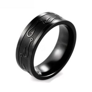 Black Stainless Steel 8mm Fishing Hook Ring Unisex